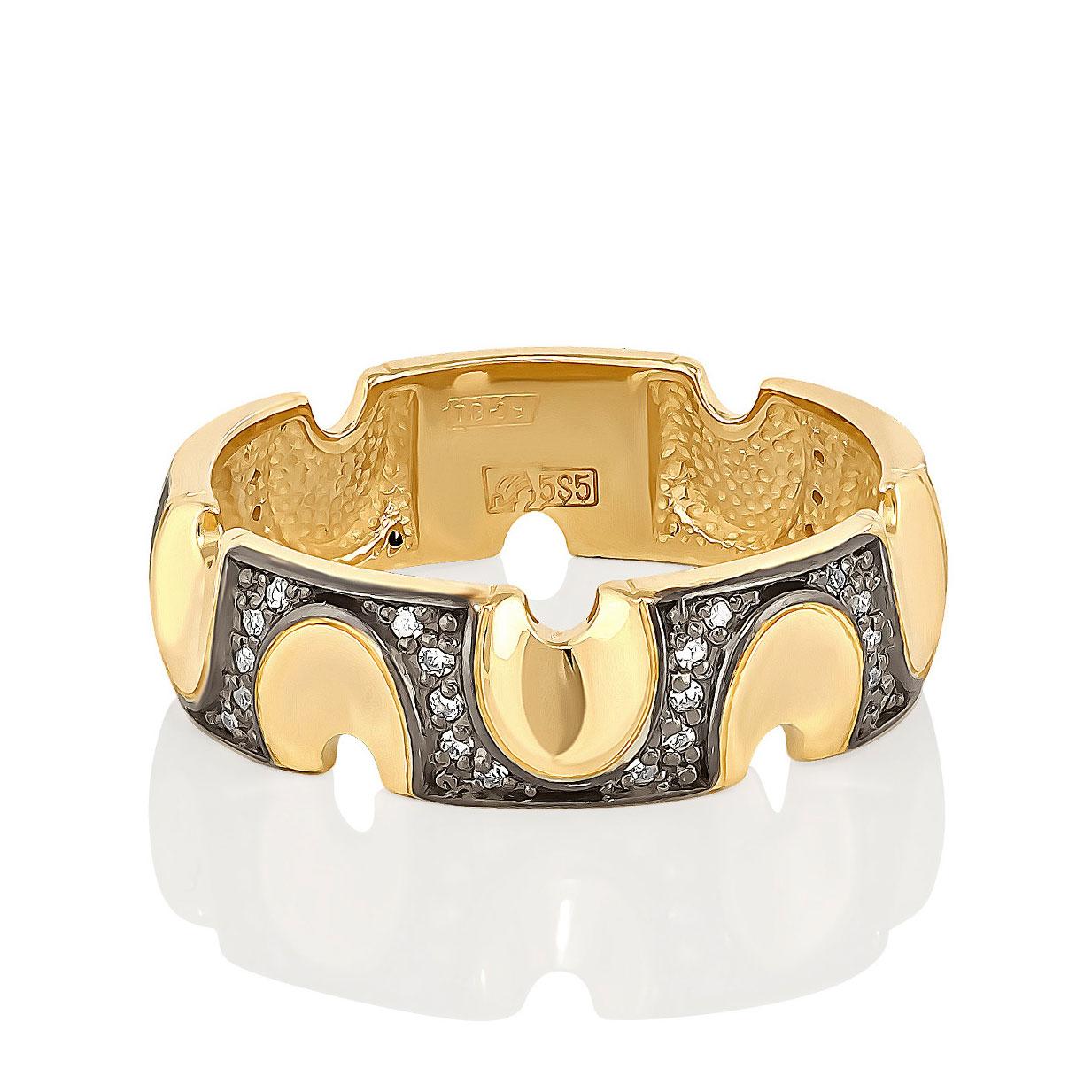 Обручальное кольцо из лимонного золота с бриллиантом арт. 1-2369-1000 1-2369-1000