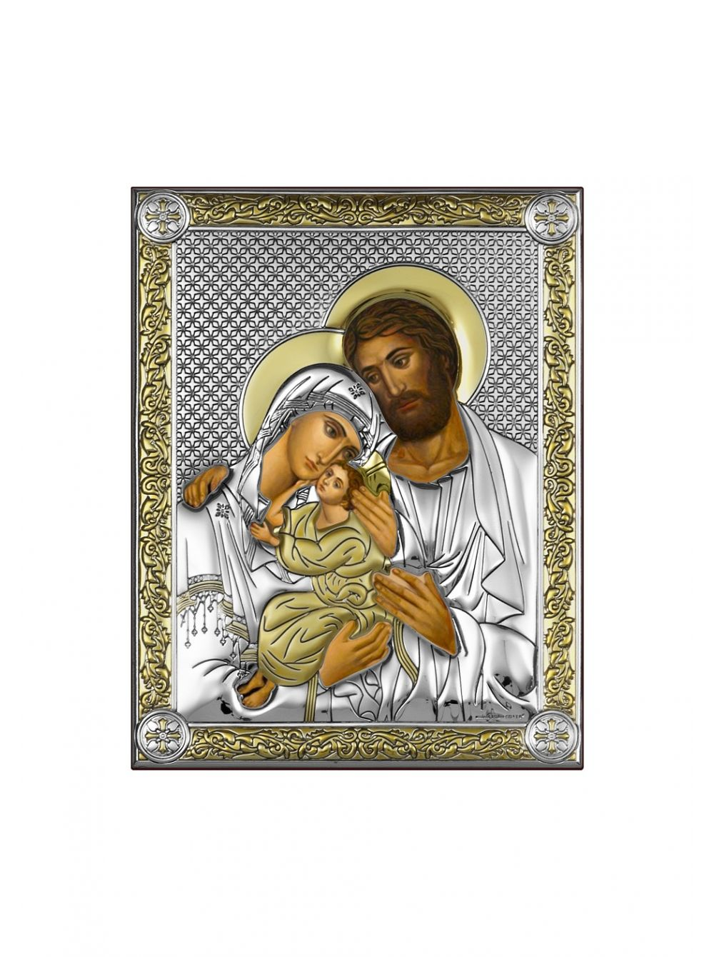 Икона с деревом и серебром 999 пробы Святое Семейство арт. СП-01 СВ.СЕМ. СП-01 СВ.СЕМ.