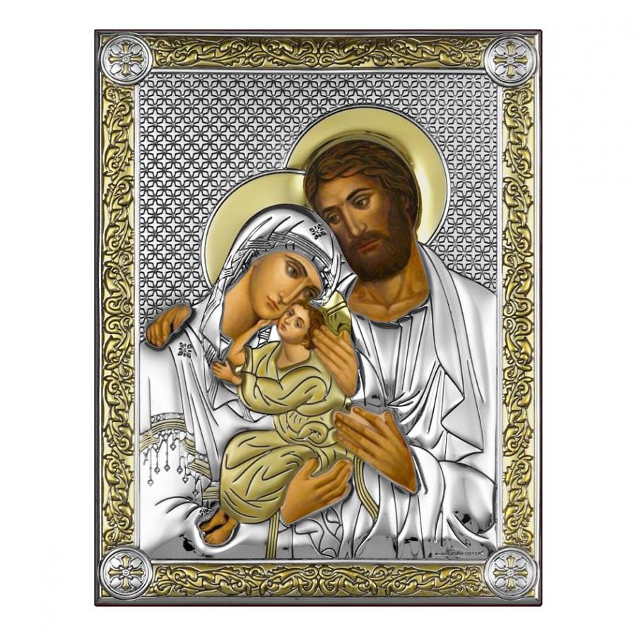 Икона с деревом и серебром 999 пробы Святое Семейство арт. СПД1-СВ.СЕМ СПД1-СВ.СЕМ