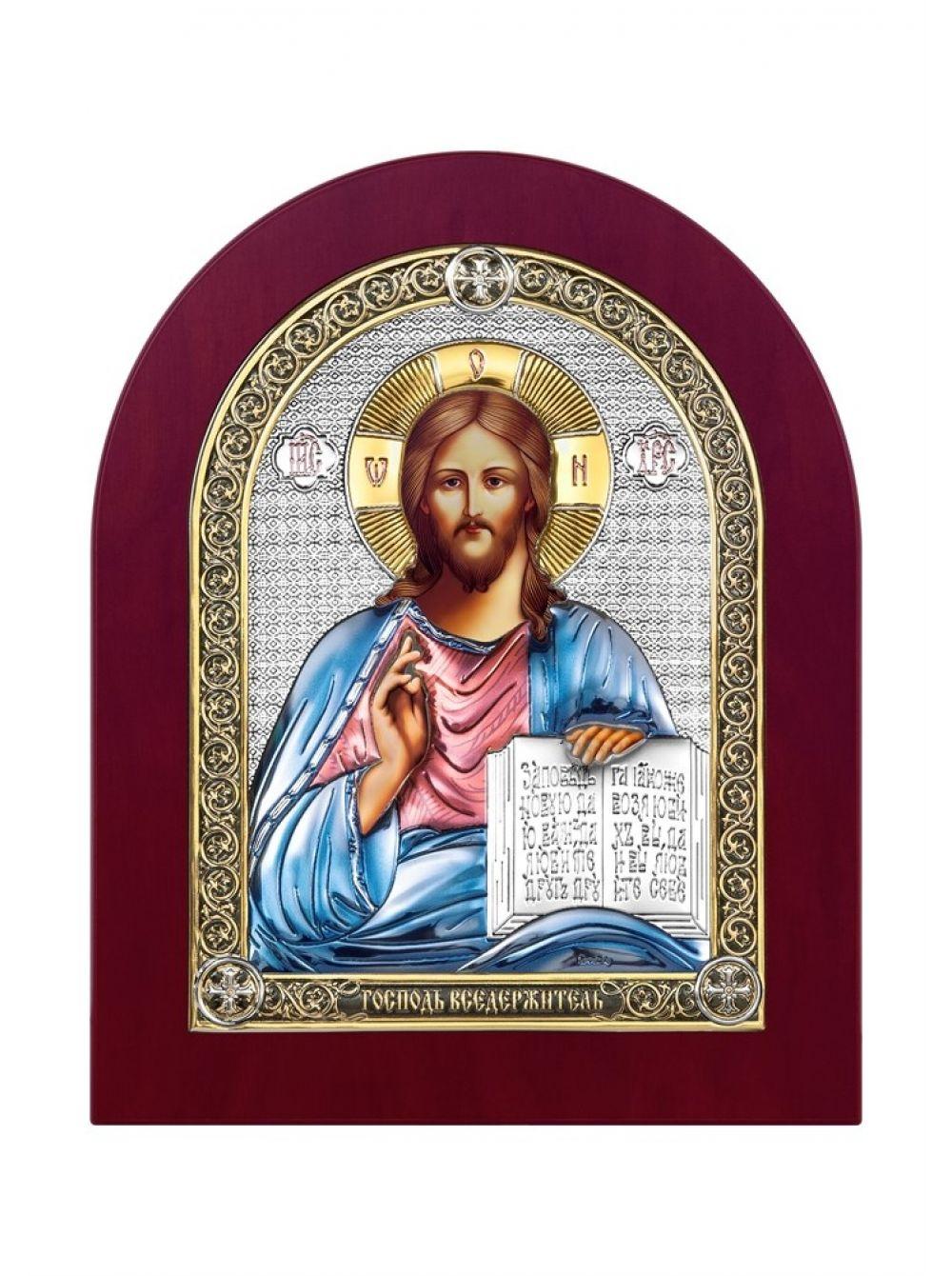 Икона с деревом, серебром 999 пробы и эмалью Христос Спаситель арт. ДПЭ-01 ХС ДПЭ-01 ХС