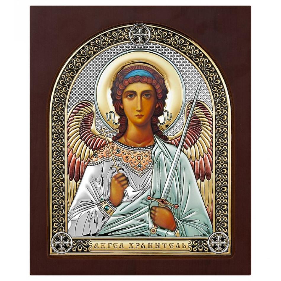Икона с деревом, серебром 999 пробы и эмалью Ангел Хранитель арт. ПЭМ2-АХ ПЭМ2-АХ