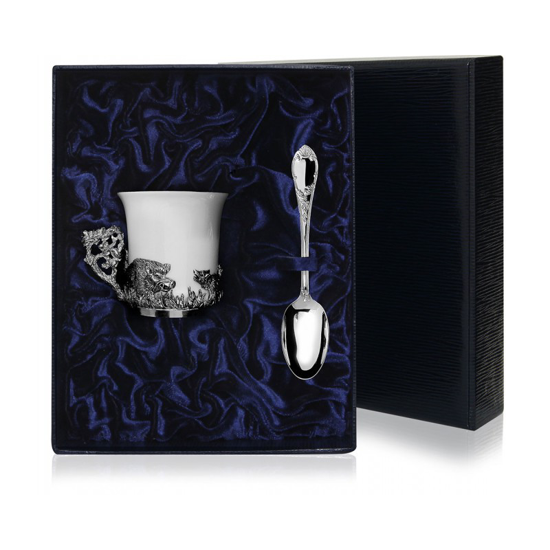 """Серебряная чашка с фарфором """"Кабан"""" арт. 539чш07006 кабан 539чш07006 кабан"""