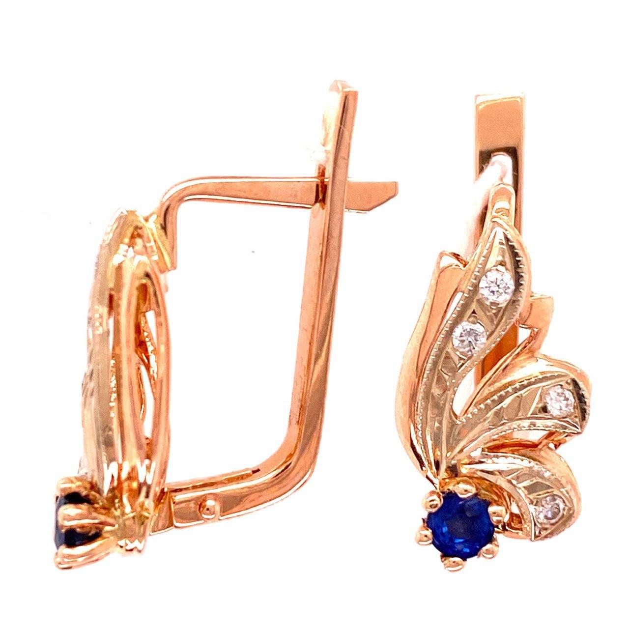 Золотые серьги с бриллиантом и сапфиром арт. г6636 г6636