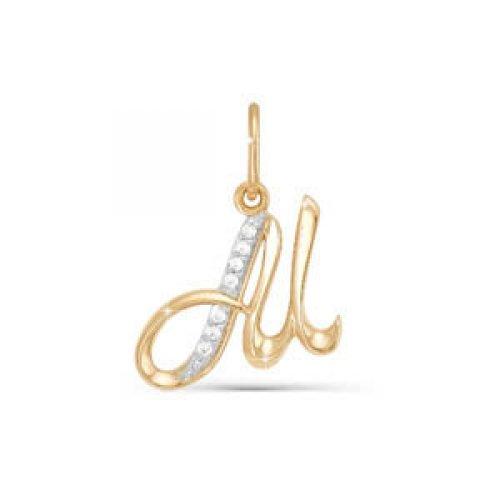 Подвес буква из золота с фианитом арт. 030733 030733