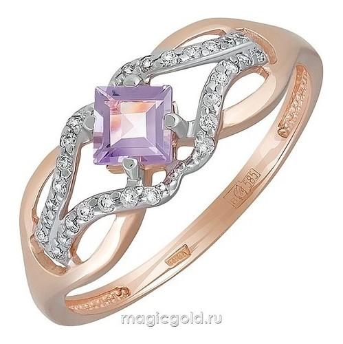 Золотое кольцо Аметист и Фианит арт. кл-729к-а кл-729к-а