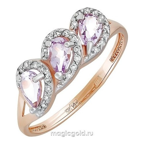 Золотое кольцо Аметист и Фианит арт. кл-723к-а кл-723к-а