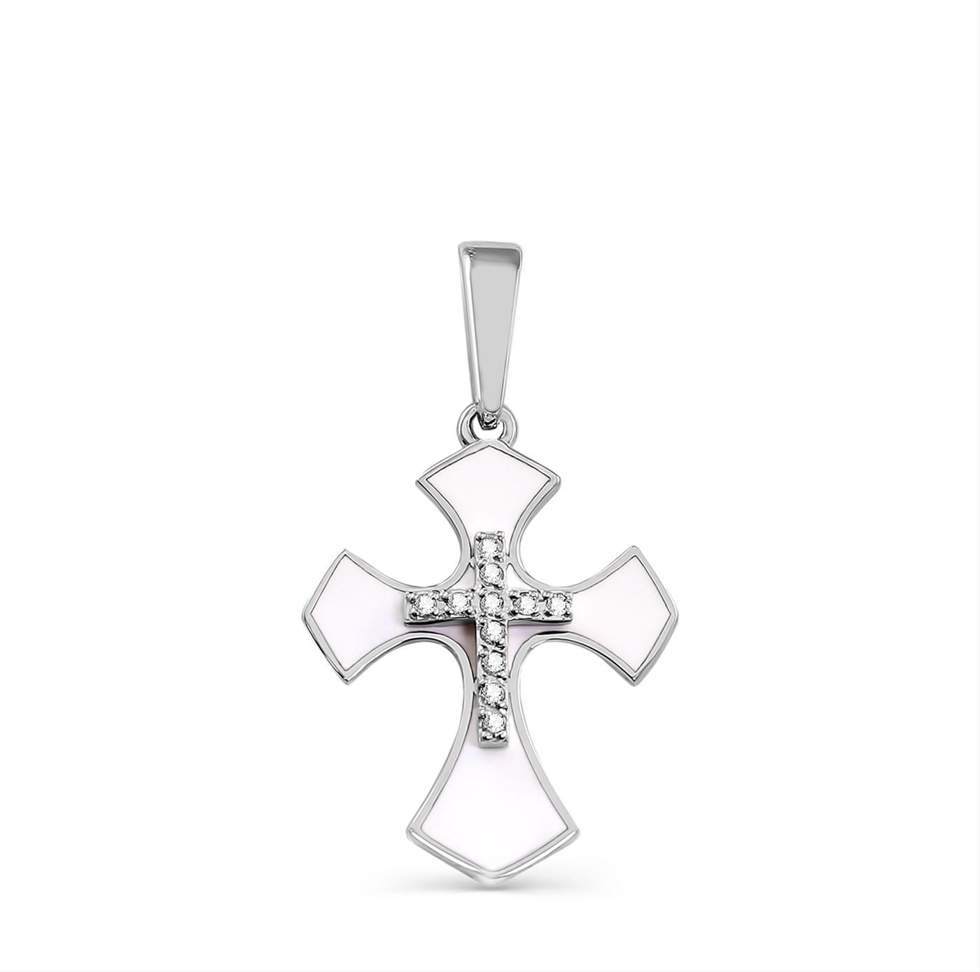 Крест из белого золота с бриллиантом и эмалью арт. 3-1280-1010 3-1280-1010