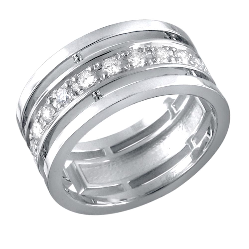 Обручальное кольцо из белого золота с цирконием арт. 01о120301 01о120301