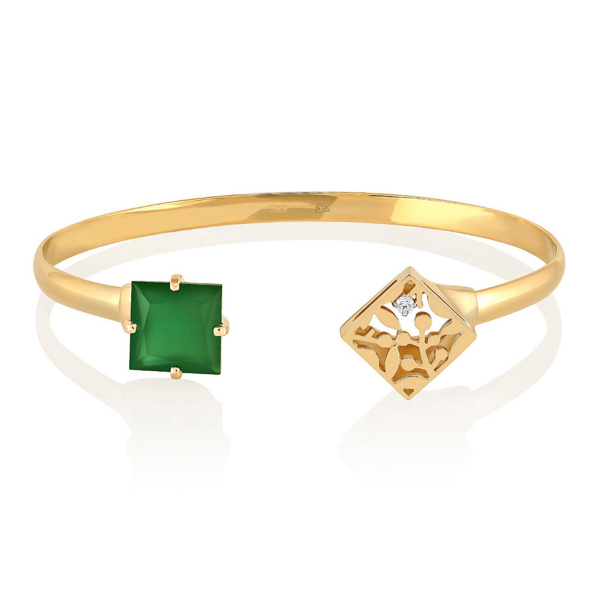 Браслет из белого золота с бриллиантом и ониксом арт. 14-2989-4200 14-2989-4200