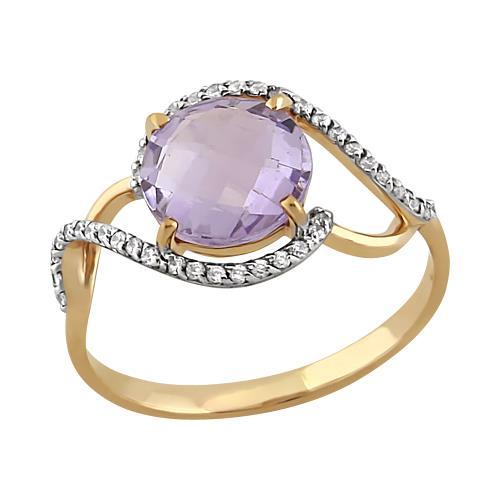 Золотое кольцо Аметист и Фианит арт. 11801669 11801669