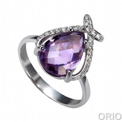 Серебряное кольцо Аметист и Фианит арт. 41100076 41100076