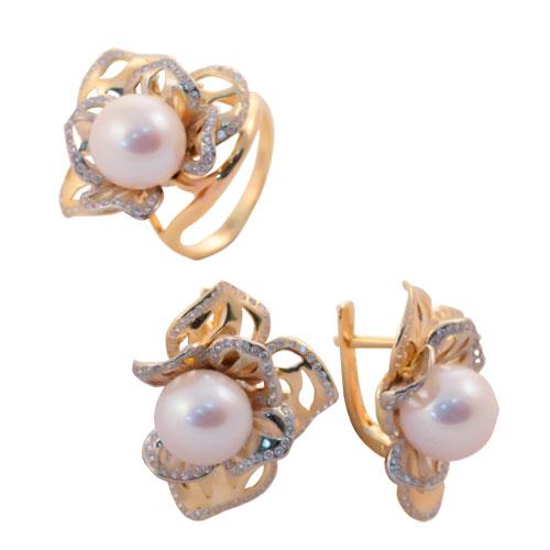 Серебряное кольцо Жемчуг и Фианит арт. 4к-5040-04 4к-5040-04