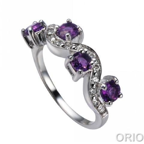 Серебряное кольцо Аметист и Фианит арт. 41100047 41100047