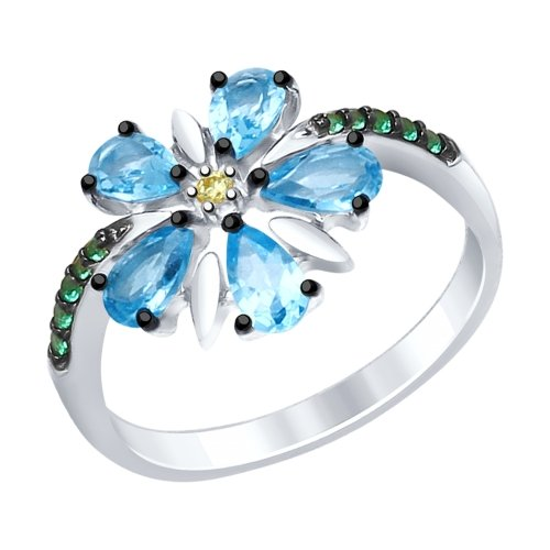 Серебряное кольцо Топаз и Фианит арт. 92011413 92011413