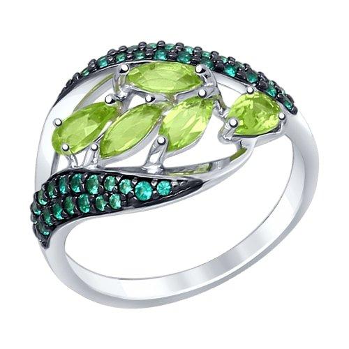 Серебряное кольцо Фианит и Хризолит арт. 92011364 92011364