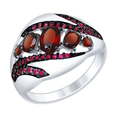 Серебряное кольцо Гранат и Фианит арт. 92011416 92011416