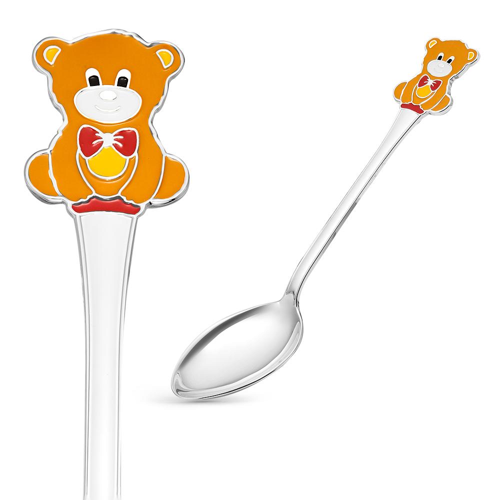 Детская ложка из серебра с эмалью арт. 9301094б мишка 9301094б мишка