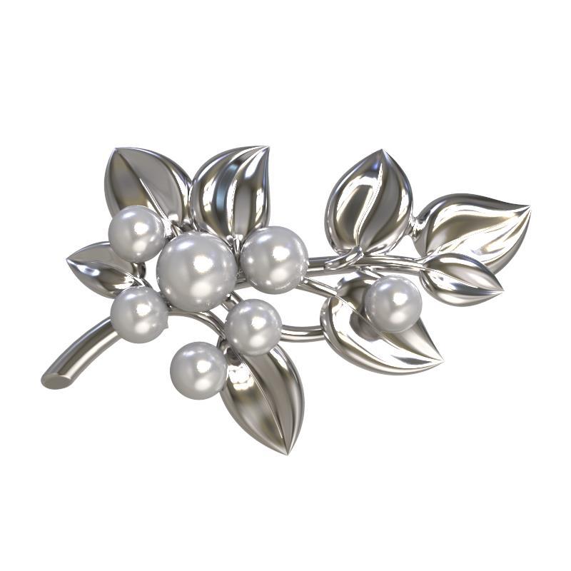 Серебряная брошь с жемчугом искусственным арт. 1029234-01250-2с 1029234-01250-2с