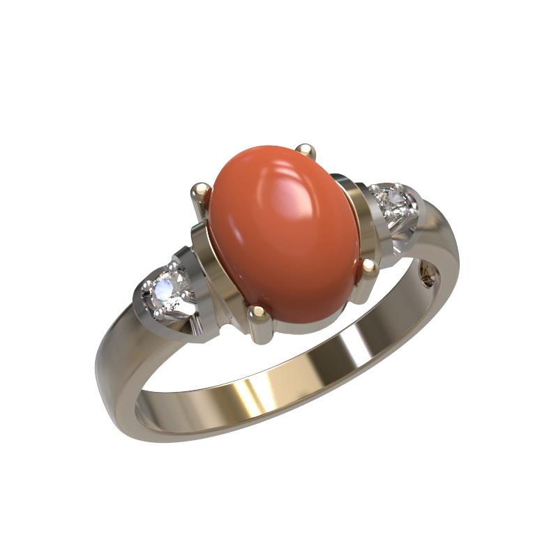 Золотое кольцо Коралл и Фианит арт. 1023641-11130-к 1023641-11130-к