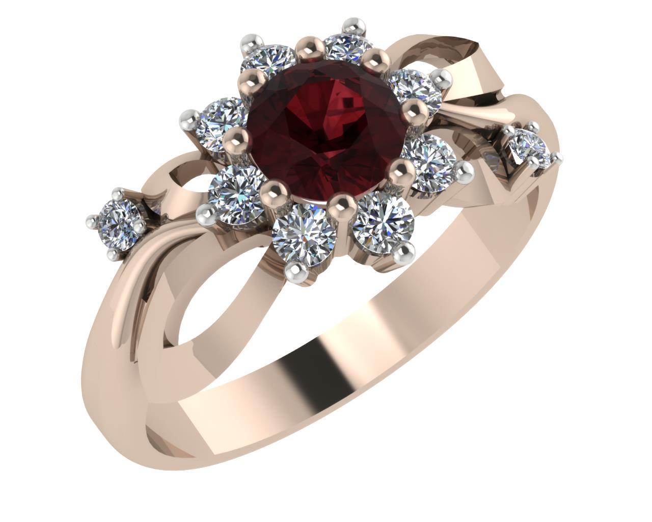 Золотое кольцо Гранат и Фианит арт. 1022581-11130-г 1022581-11130-г