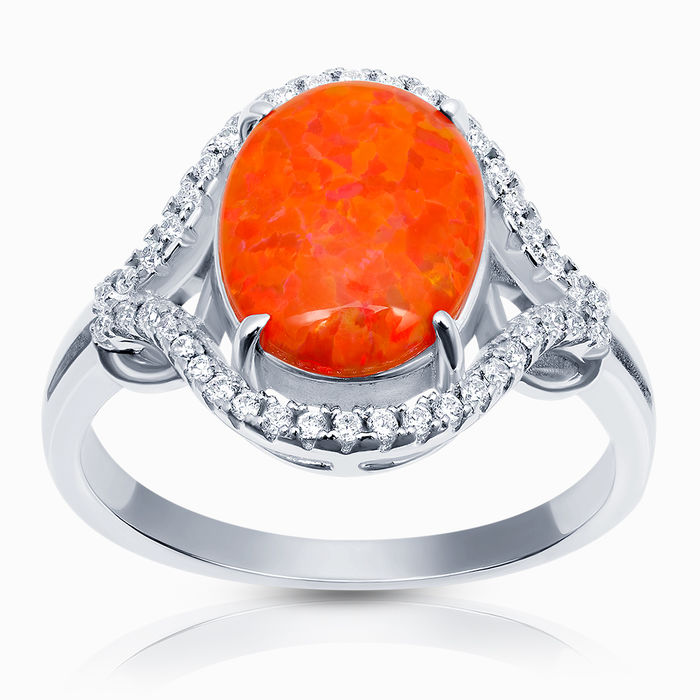 Серебряное кольцо Опал и Фианит арт. 41593 41593