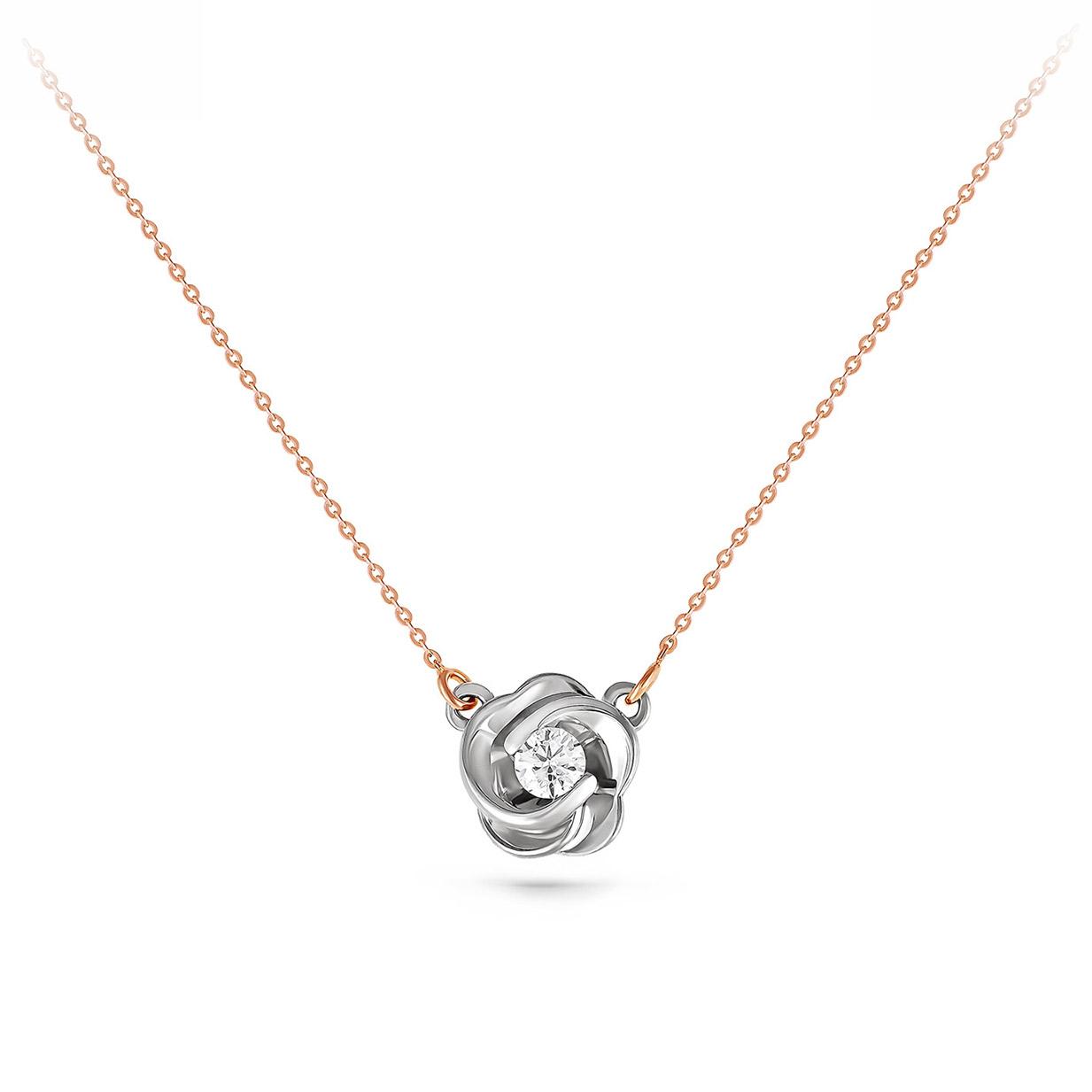 Колье из белого золота с бриллиантом арт. 16-0887-1000 16-0887-1000