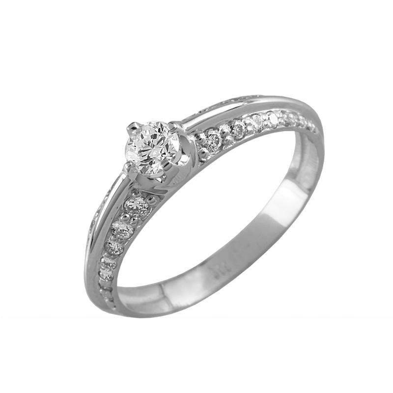 Помолвочное кольцо из белого золота с бриллиантом Бриллиант арт. 90874 90874