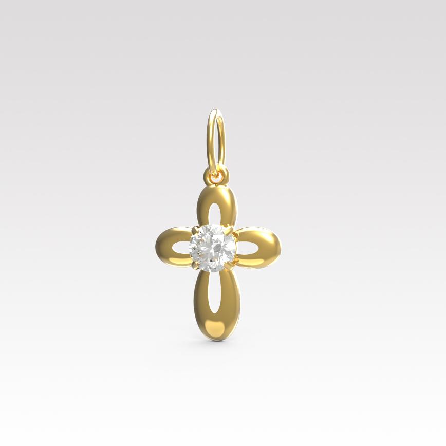 Золотой крест с фианитом арт. п-147 п-147