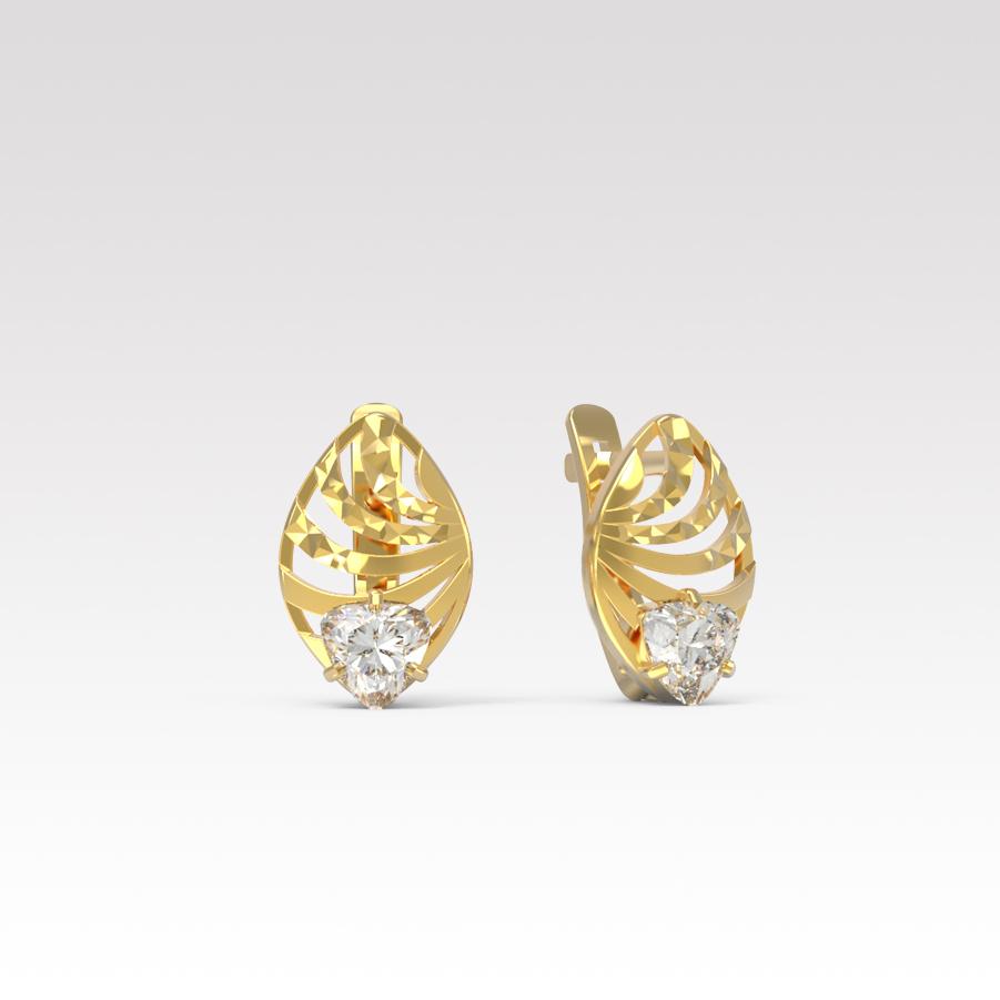 Золотые серьги с фианитом арт. с-045-а с-045-а