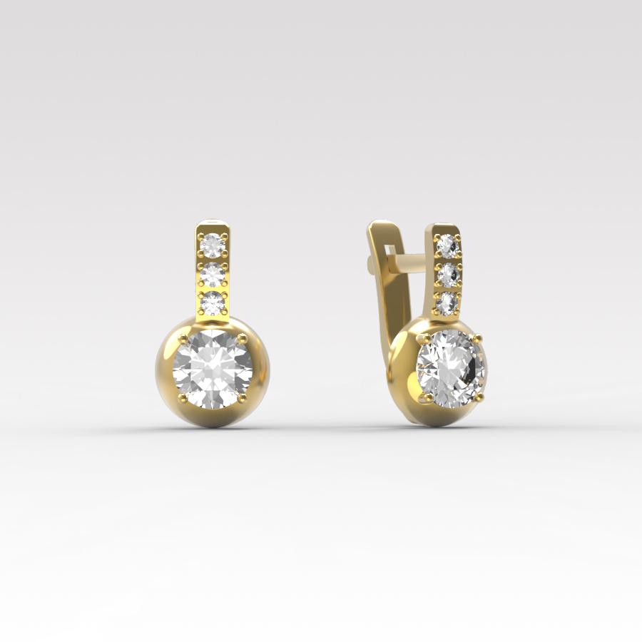 Золотые серьги с фианитом арт. с-071 с-071