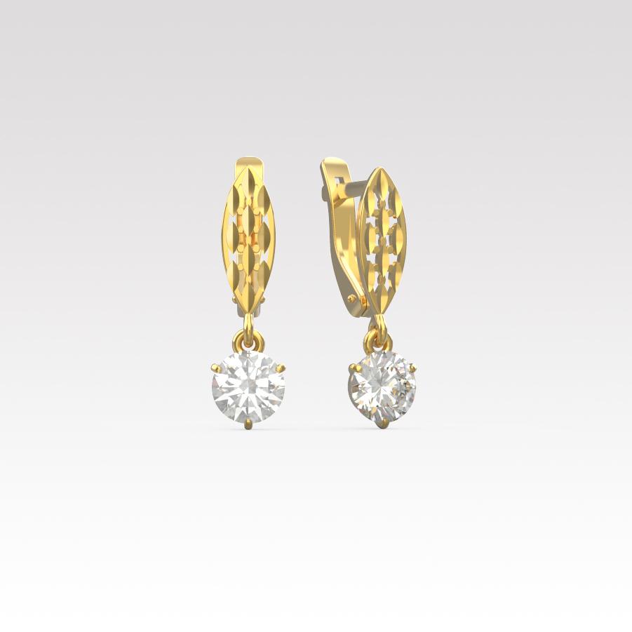 Золотые серьги с фианитом арт. с-126 с-126