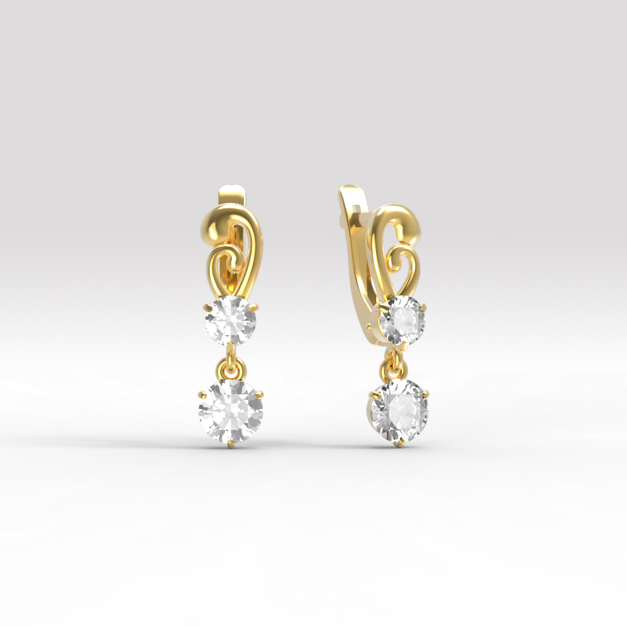 Золотые серьги с фианитом арт. с-234 с-234