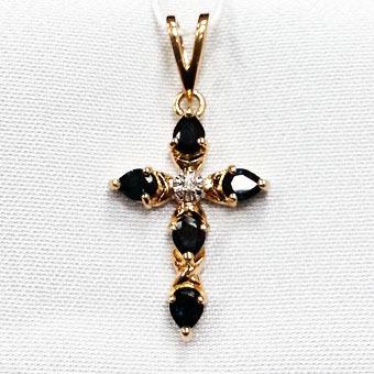 Золотой крест с бриллиантом и рубином арт. 810734-15 810734-15