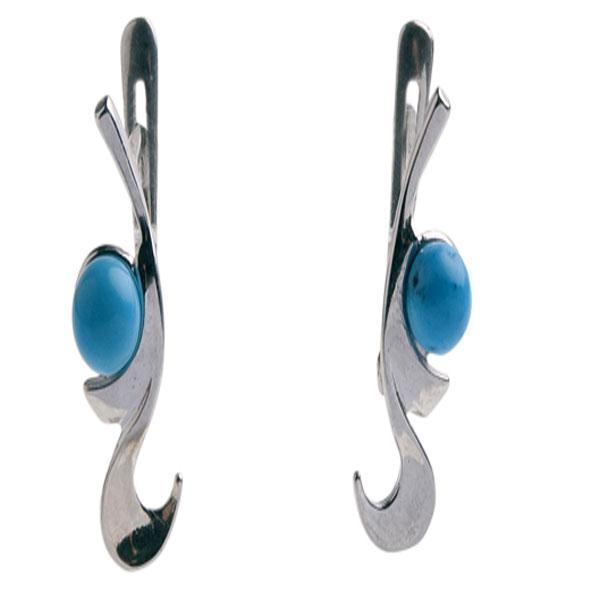 Серебряные серьги с фианитом и хризолитом арт. 4с-556-04 4с-556-04