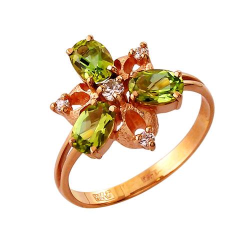 Серебряное кольцо Фианит и Хризолит арт. 4к-639-05 4к-639-05