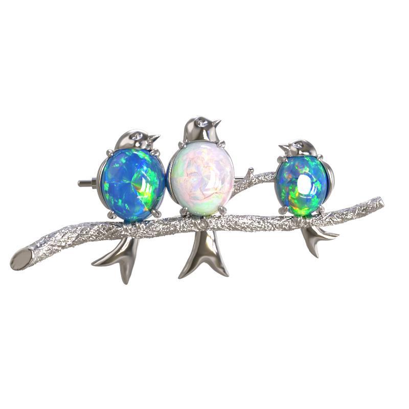Серебряная брошь с опалом арт. 1029664-01210-о 1029664-01210-о