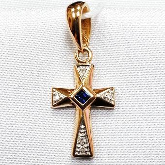 Золотой крест с бриллиантом и изумрудом арт. 320697/6 320697/6