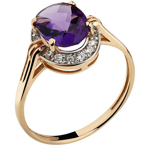 Золотое кольцо Аметист и Фианит арт. 1321491 1321491