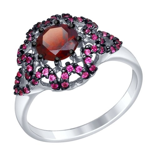 Серебряное кольцо Гранат и Фианит арт. 92011351 92011351