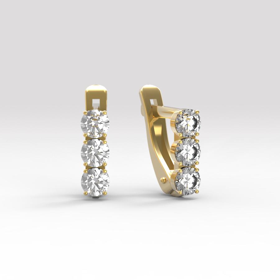 Золотые серьги с фианитом арт. с-002 с-002
