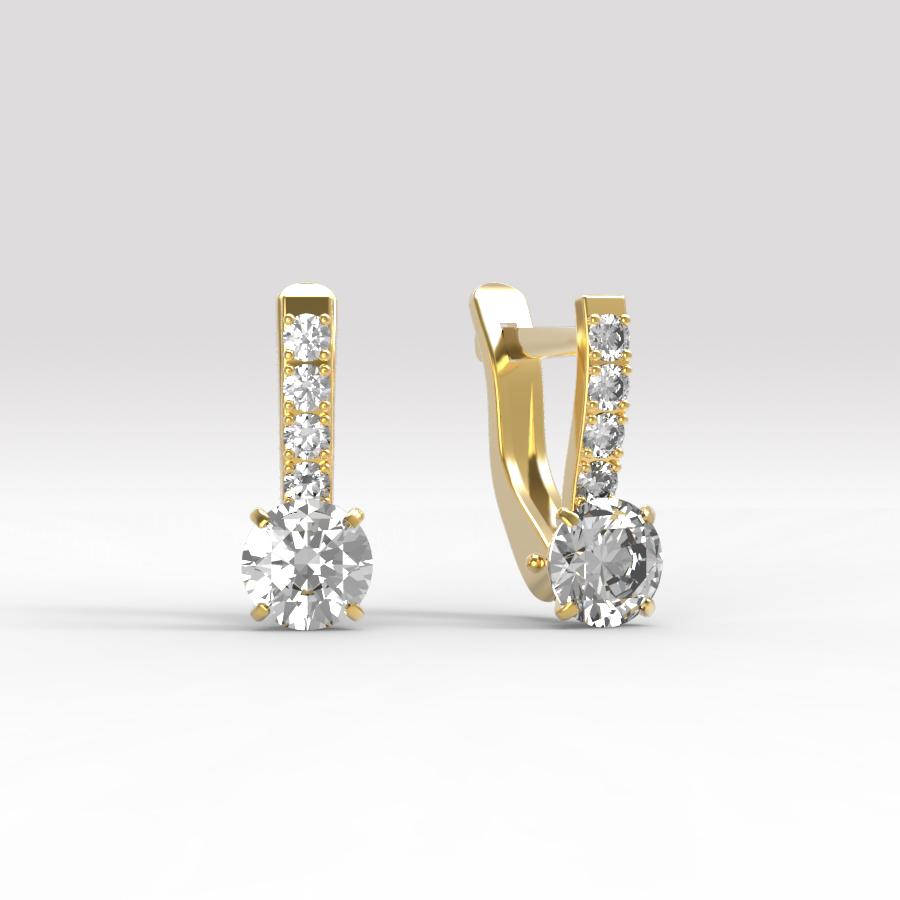 Золотые серьги с фианитом арт. с-188 с-188