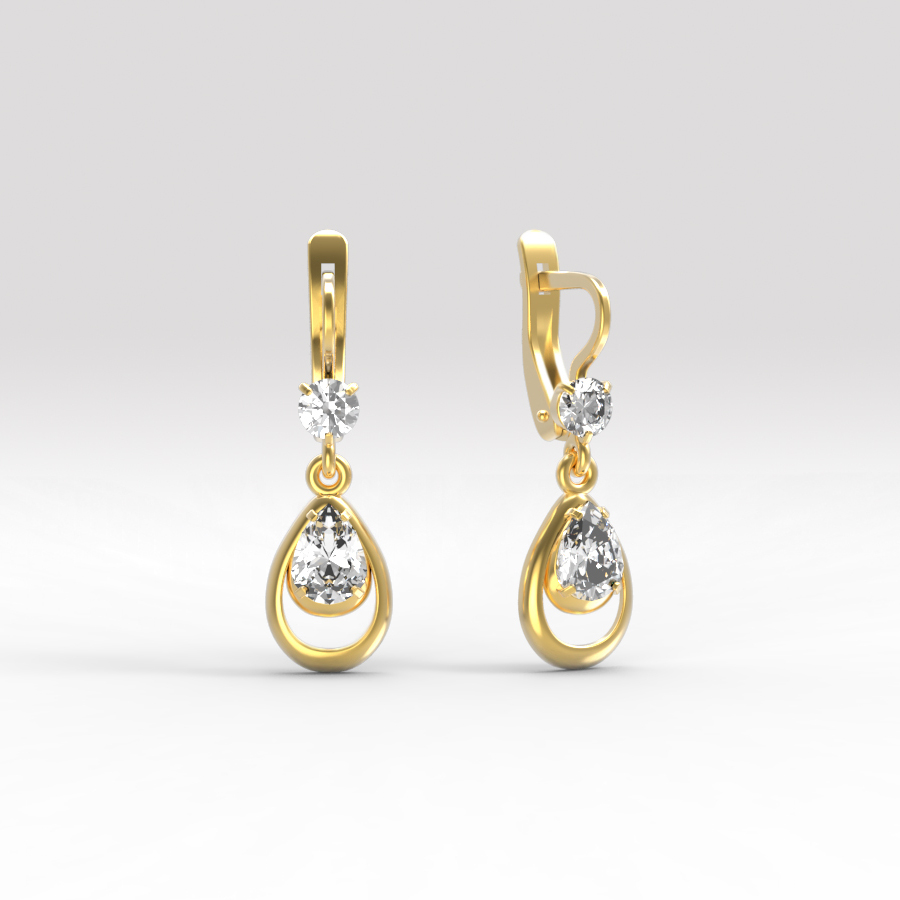 Золотые серьги с фианитом арт. с-244 с-244