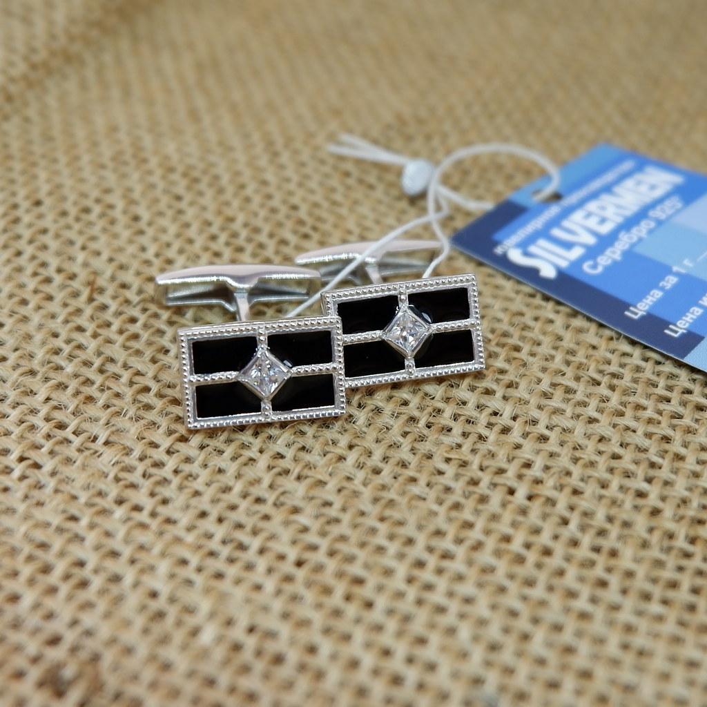 Серебряные запонки с эмалью арт. 141045 141045