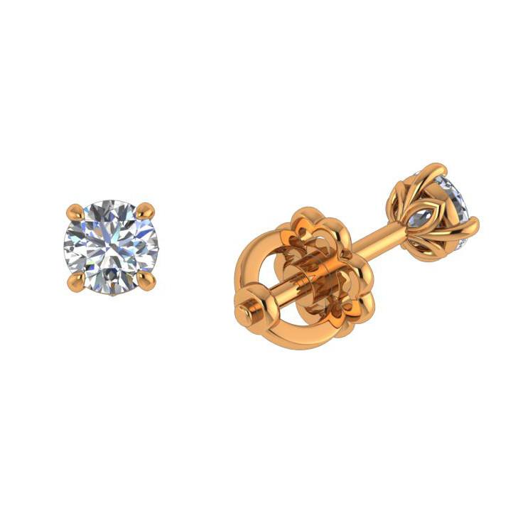 Серьги пусеты из золота с бриллиантом арт. ПС-117/1К ПС-117/1К
