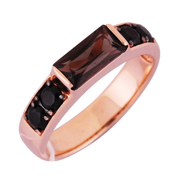 Золотое кольцо Раухтопаз и Фианит арт. 1310257 1310257