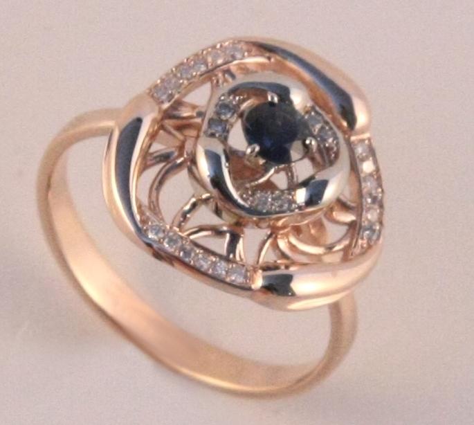 Золотое кольцо Бриллиант и Сапфир арт. 24000021 24000021