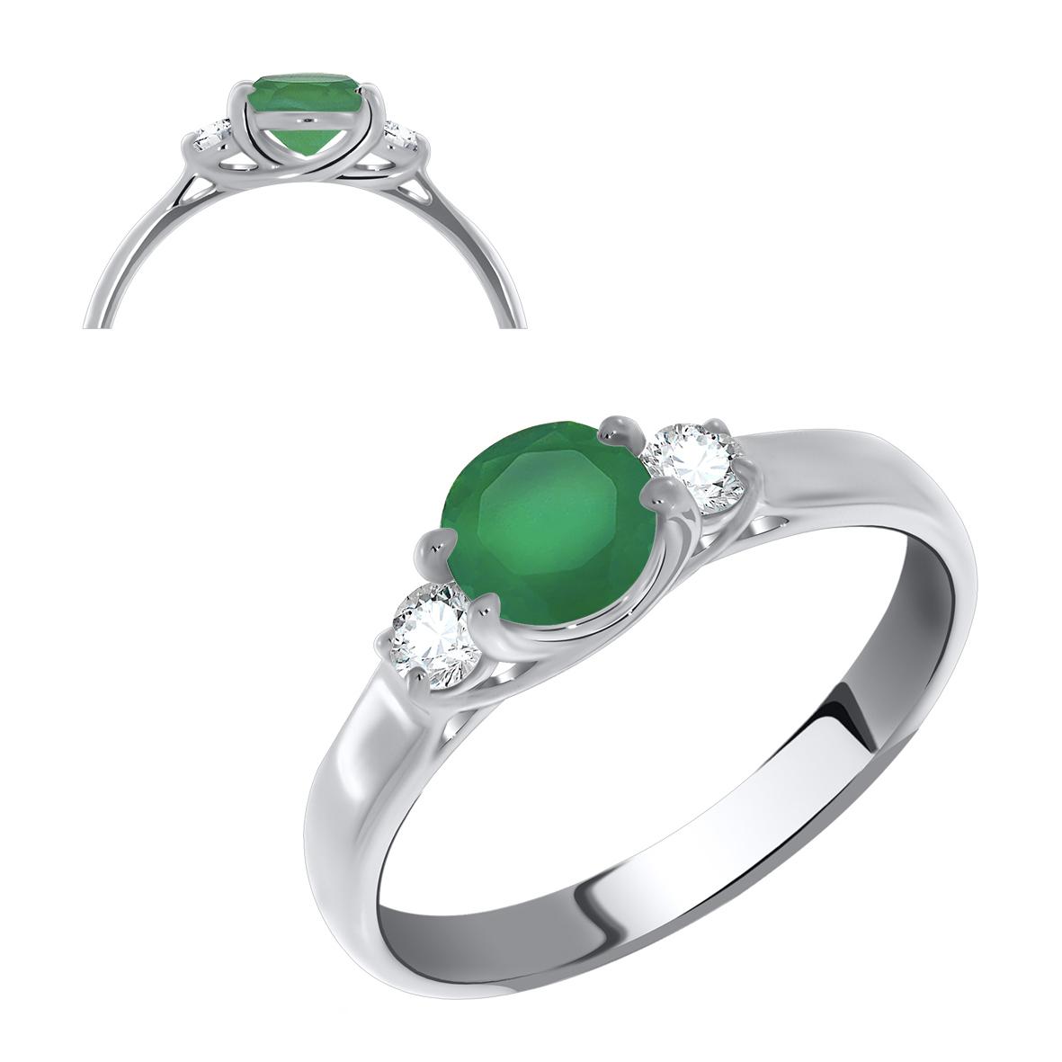 Серебряное кольцо Агат и Фианит арт. 1340390260-60 1340390260-60