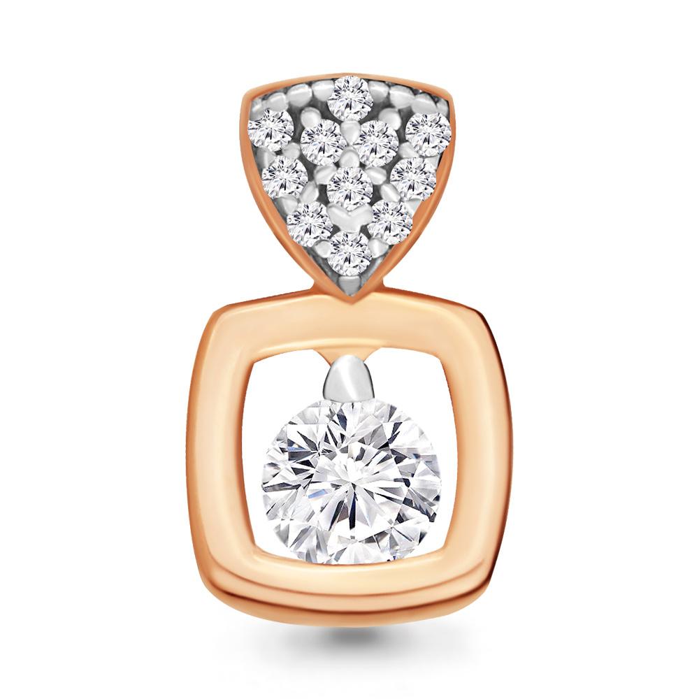 Золотой подвес с кристаллом сваровски и фианитом арт. 23604а 23604а