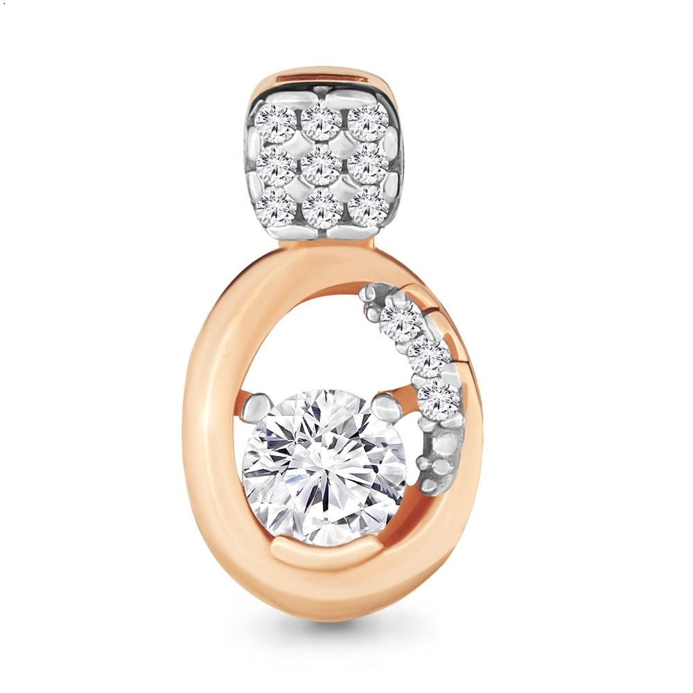 Золотой подвес с кристаллом сваровски и фианитом арт. 23606а 23606а