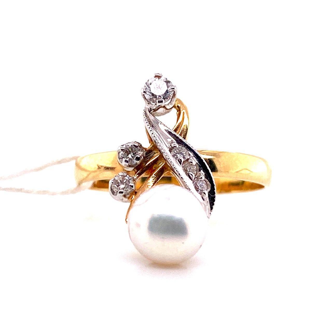 Золотое кольцо Бриллиант и Жемчуг арт. е1830 е1830